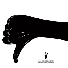Thumb down hand sign, detailed black and white vector illustrati