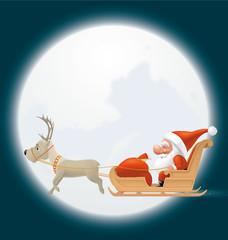 Santa flying in his sledge