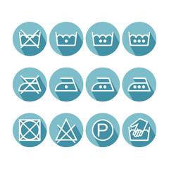 Set of flat instruction laundry icons, washing symbols