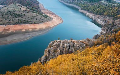 Autumn view of the meanders of the Arda River, Bulgaria