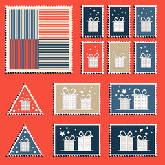 Large set of colorful CHristmas postage stamps. Vintage New Year