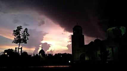 Sky before tornado storm