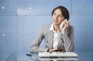 Businesswoman talking on phone.