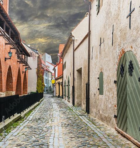 Medieval street in old city of Riga, Latvia - 73890756