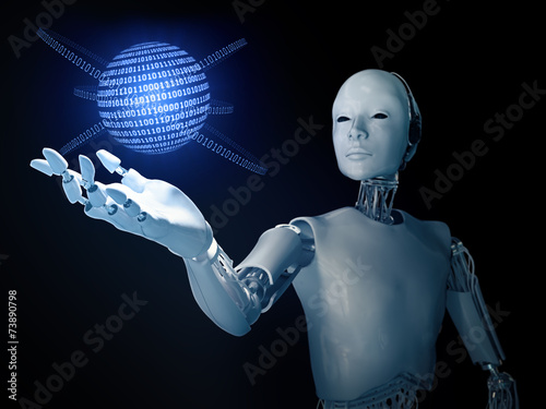 Android with a binary code globe - 73890798