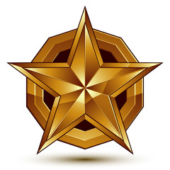 Heraldic vector template with five-pointed golden star, dimensio