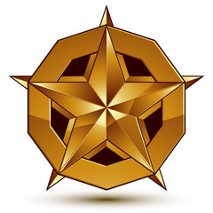 3d vector classic royal symbol, sophisticated golden star emblem