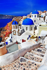 colors of Santorini - Oia. view with church and caldera