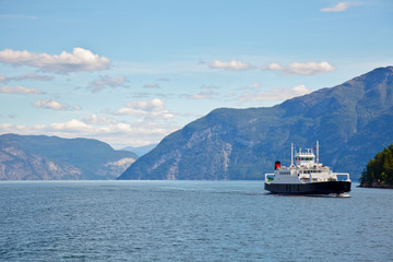 Ferryboat cruising Norwegian fjord