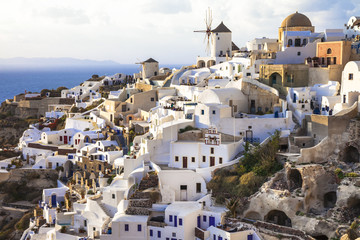Oia village , Santorini, view with windmills