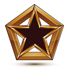 Branded golden geometric symbol, stylized star with black fillin