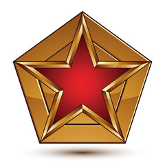 Glamorous vector template with pentagonal red star with golden b