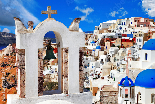 Foto op Canvas unique Santorini, view with church bell in Oia