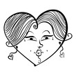 Heart shaped loving girl face, cute woman, black and white lines