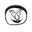 Happy cartoon face, black and white lines vector illustration.