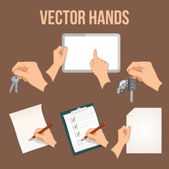 Hands holding business objects collection