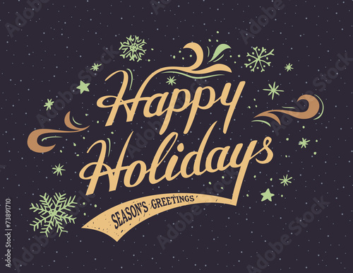 Happy Holidays hand-lettering card - 73891710