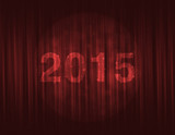 happy new year 2015 on red curtain