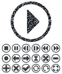 Vector collection of decorative multimedia user interface button