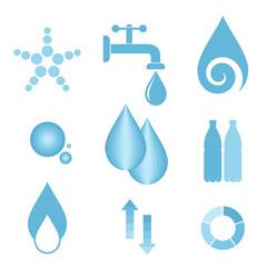Water. Icon set