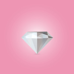 Abstract diamond isolated on a pink backgrounds
