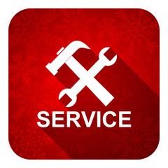 service flat icon, christmas button