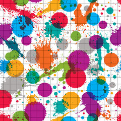Vector ink splash seamless pattern with rounded overlap transpar