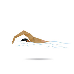 Swimmer abstract isolated on a white background, vector illustra