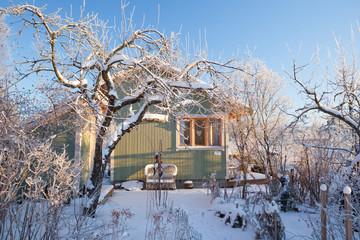 Summer cabin at winter