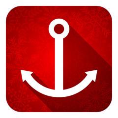 anchor flat icon, christmas button, sail sign
