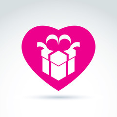 Vector illustration of a magenta gift box sign placed in a heart