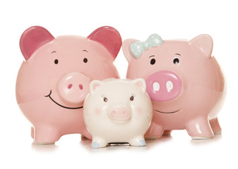 saving money as a family piggy banks