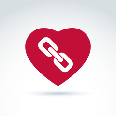 Vector red heart with link symbol, love relationship idea. Marri