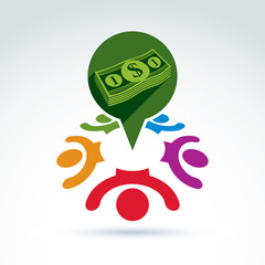 Financial and social money theme icon, people, work team, societ
