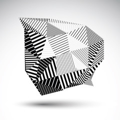Striped monochrome abstract vector object isolated on white back