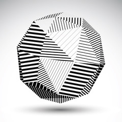 Symmetric spherical 3D vector technology illustration, perspecti