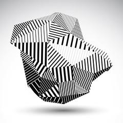 Triangular abstract 3D illustration, vector digital eps8 striped