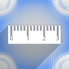 Ruler icon symbol Flat modern web design with long shadow and