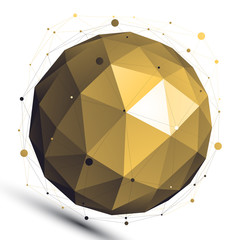 Gold abstract 3D vector network object, art spherical glossy fig