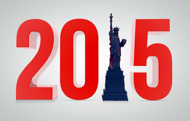 New Year 2015 with Statue of Liberty