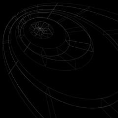 Scientific perspective lattice dark background, abstract netting