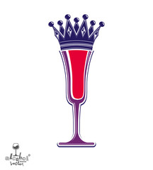 Champagne glass with royal crown, decorative goblet full with sp