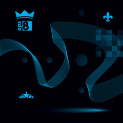 Sophisticated 3d waved  dark decoration, clear eps 8 vector illu