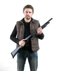 Brutal man with gun on white background