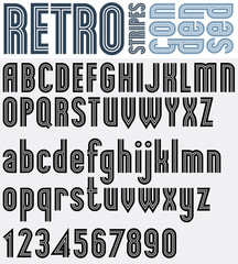 Retro striped black and white font and numbers with outline, bol