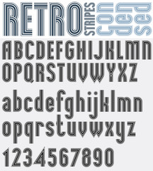 Retro striped black and white font with outline, bold poster let