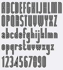 Poster double striped black font and numbers.