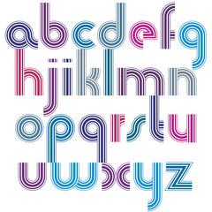 Bright lowercase letters with rounded corners, animated spherica