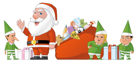 Santa and elfs group