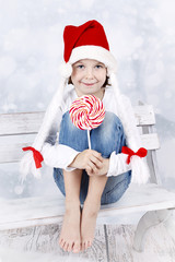 Little Santa Girl with Lollipop